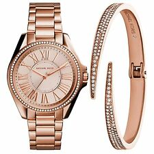 Michael Kors Women's MK3569 Kacie Rose Gold Steel Watch and Bangle Bracelet Set