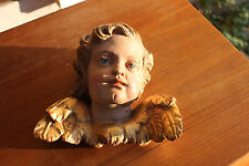 Very nice baroque ANGEL, PUTTI, handcarved wood, painted & gold platet