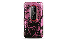 HTC EVO 3D SPRINT PCS GRAPHIC HARD CASE PINK BLACK SWIRL