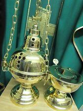High Polish Brass Censer Four Chains Boat and Spoon