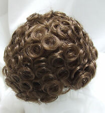 "Sz. 11/12"" Curly Top Light Brown Doll Wig Baby Reborn BJD OOAK FRANCIS"