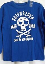 BOYS 4T WICKED BLUE SHIPWRECK SKULL SKATEBOARD SHIRT NWT ~ THE CHILDREN'S PLACE