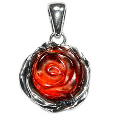 4.8g Authentic Baltic Amber 925 Sterling Silver Pendant Jewelry A585