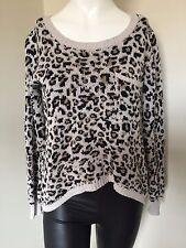 Billabong Beige Brown Leopard Animal Jumper Summer Fun Lightweight Ombre Knit M