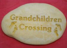 GRANDCHILDREN CROSSING STONE ROCK Concrete Garden Ornament Statue