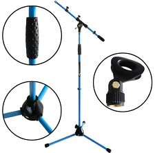 KEEPDRUM MS106 Blau Mikrofonständer Mikrofonstativ mit Galgen + Mikrofonklemme