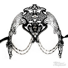 Luxury Filigree Metal Venetian Masquerade Mask for Women with Chains [Black]