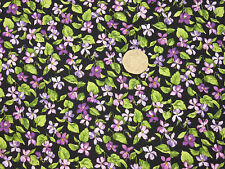 Quilting Fabric Purple Pink Wild Violets Black BG Fat Quarters 100% Cotton