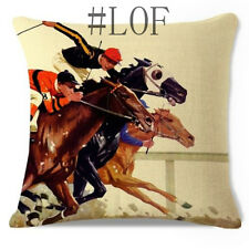 Sale Bedroom Home Decor Horse Racing Men Elegant Cotton Linen Cushion Cover 18""