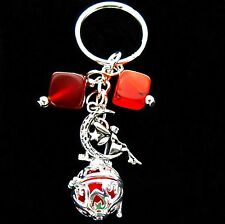 Fairy Diffuser Charm Red Agate Keychain Aromatherapy Locket Essential Oil