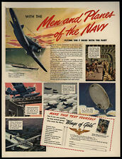 1942 U.S. NAVY Recruiting Aviation Cadet Fighter Pilots - Airplanes VINTAGE AD