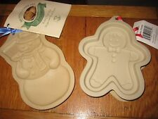 "Brown Bag Cookie Art 7"" snowman and 6.5"" gingerbread man - 2 cookie molds"