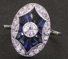 Platinum 1.27CTW diamond/Blue sapphire cluster cocktail ring w/ .25CT ctr size 7