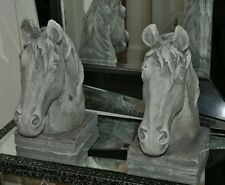 Pair Of Large Horse Head White Grey Statue Set Of 2 Standing Stallion Equestrian