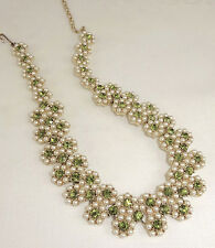 Vintage Necklace Choker Peridot Green Rhinestones Pearls Glowing Beauty