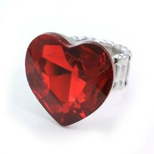 Valentine's Day Be Mine Love Ruby Red Heart Charm Adjustable Stretch Band Ring