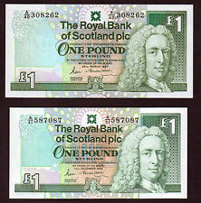 2 notes  £1 ROYAL BANK different sizes.  Prefixes A/40 AND A/41