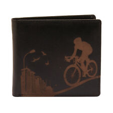 PellMell - Soft Black Leather Coin Purse Wallet with Engraved Racing Bike Design