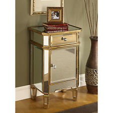 Mirrored Glass End Table Nightstand Chest Gold Finish Accent Storage Cabinet NEW