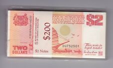 SINGAPORE $2 SAILBOAT SHIP bundle 100 Banknotes sealed G-411