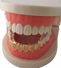 Hip Hop 14K Gold Plated Mouth Teeth Grills Bottom Lower Open Face Fangs 6OF