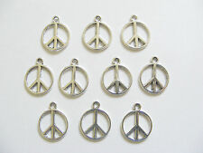 10 Metal Antique Silver Peace Charms Pendants - 14mm