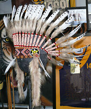#wb730  Quality Native American Chief Indian headdress feather war bonnet 1sz