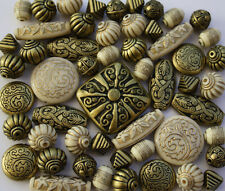Cream Bronze Jewellery Making Beads Mix - Sold as Seen!