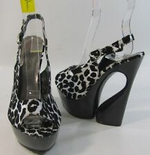 "Black/White  6""high strange heel 2"" platform ankle strap sexy shoes  Size. 6"