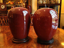 Two Rare and Large Qing Dynasty Flambe-Glazed Jar Vases with Collector Mark.