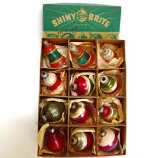 Vintage Shiny Brite Assorted Ornaments Silvered Unsilvered Bells Lattern Baubles