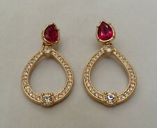 "2 1/8"" LONG SIGNED SWAROVSKI RUBY RED CRYSTAL RHINESTONE DOOR KNOCKER EARRINGS"