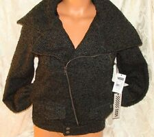 Vans Off The Wall Womens/Juniors Jamie Jacket XS Black Gray $129.00 Wool Tweed