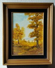 "Nice Vintage Forest Trees Landscape Oil Painting Signed Rita 15"" x 11"""