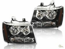 2007-2014 Chevy Avalanche Tahoe Suburban Black Headlights Headlamps RH + LH