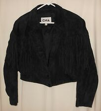 80'S FRINGE JACKET CHIA BLACK SUEDE DEEP V ROCKER CHIC METAL LADY'S XL