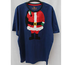 Men's Navy Blue  Santa Christmas Fansy Loungwear T shirt Top Large
