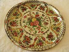 Ornate Floral Gold Lattice Designs Metal Tray Platter England Daher 16.5 Vtg