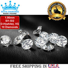 10 Round Brilliant cut Diamonds Loose Natural Real Size-1.90mm SI D-H(white) VG