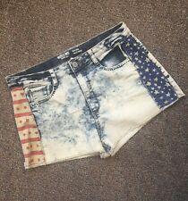 Acid Wash Shorts Denim Flag Red White Blue Print Size 17 Mossimo
