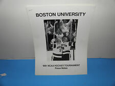 NCAA Boston University Terriers Hockey 1991 Tournament Press Notes