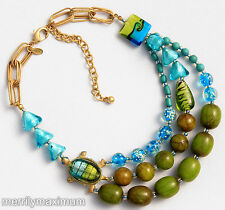 Chico's Signed Turtle Charm Necklace Gold Tone Turquoise Glass Lampwork Green
