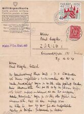 Switzerland 1940 \soldiers mail card with bal and 20c adh from Zurich