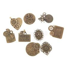 9 Antique Bronze Steampunk Clock Gears Charm Pendant Jewelry Findings