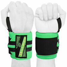 WEIGHT LIFTING TRAINING WRIST SUPPORT COTTON WRAPS GYM BANDAGE STRAPS GREEN 18""