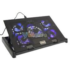 "5 Fan LED 12-17"" Laptop Notebook Cooling Cooler Adjustable Stand Pad Black"