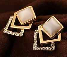 New Fashionable Geometric Design Crystal Gold Plated Stud Earrings - PREARR08