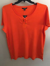 NWT~RALPH LAUREN~ORANGE LACE-UP RIBBED SHORT SLEEVE TOP~PLUS SIZE 3X~NEW