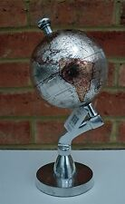 Globe Silver Metal Stand Retro Decorative World Map 13cm Globe  29cm Tall New