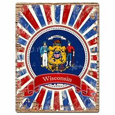 PP1028 USA WISCONSIN State Flag Chic Sign Home Shop Store Room Wall Decor